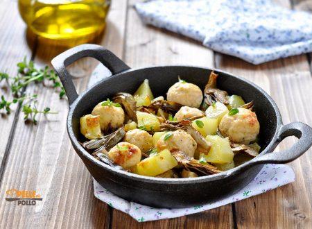 Polpette con carciofi e patate al forno