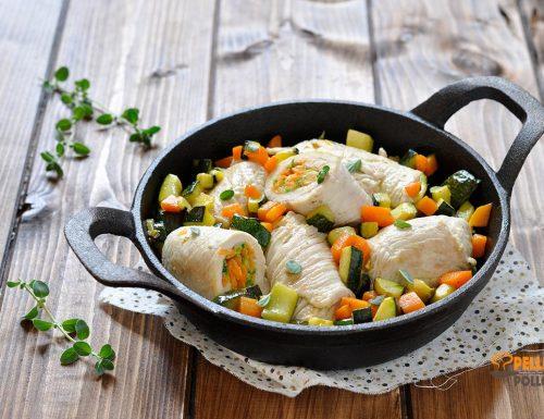 Involtini di tacchino con verdure in padella