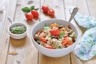 riso freddo al pesto con pomodorini