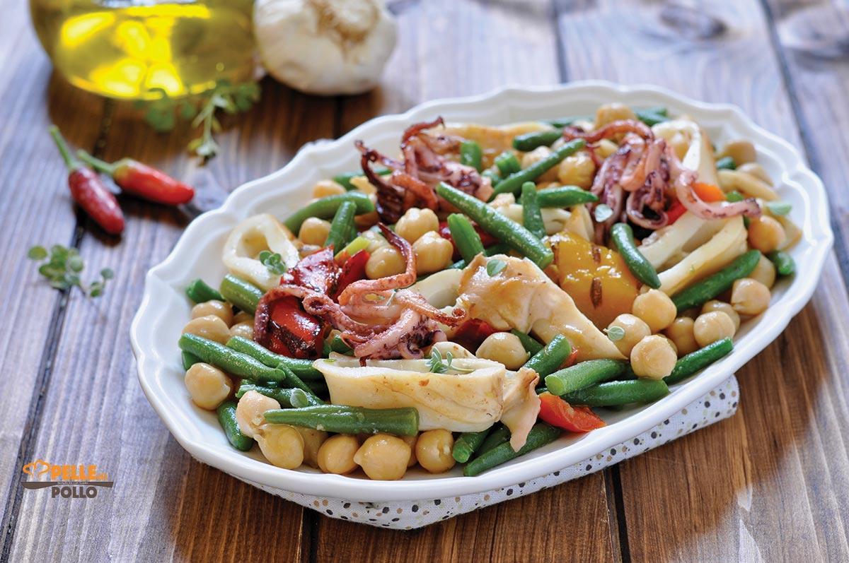 insalata di calamari grigliati ceci fagiolini