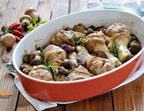 Pollo al forno con funghi e pancetta