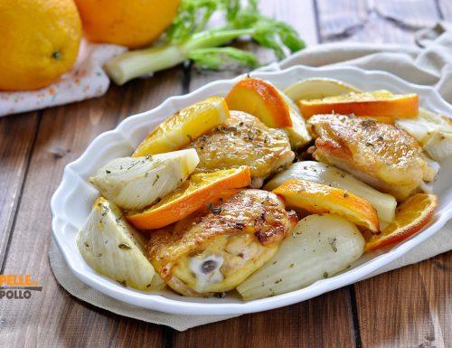 Pollo con finocchi e arance al forno