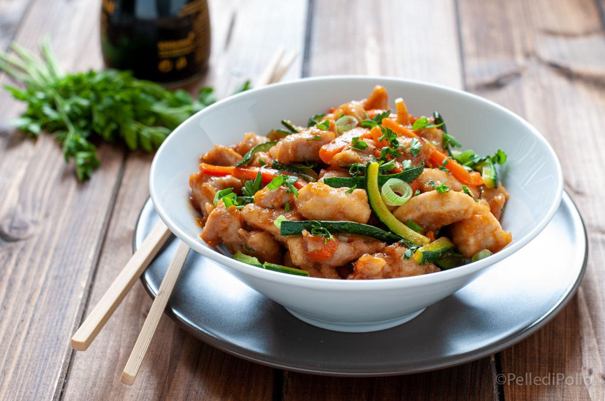pollo in agrodolce con verdure