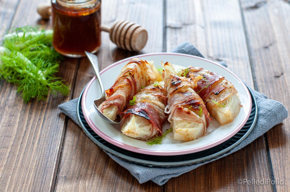 finocchi al forno con pancetta e miele