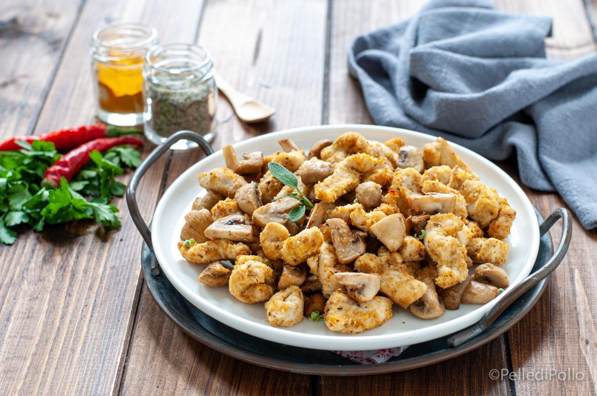 straccetti di pollo con funghi friggitrice ad aria