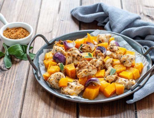 Petto di pollo con zucca e spezie al forno