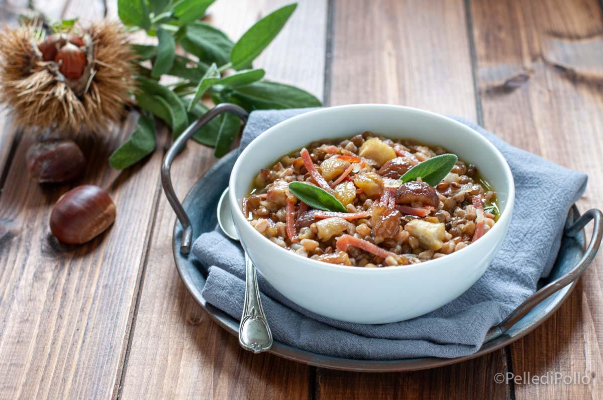 zuppa di farro con castagne e lenticchie