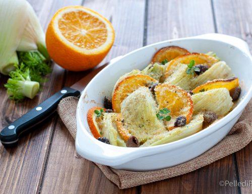Finocchi gratinati con arance e olive