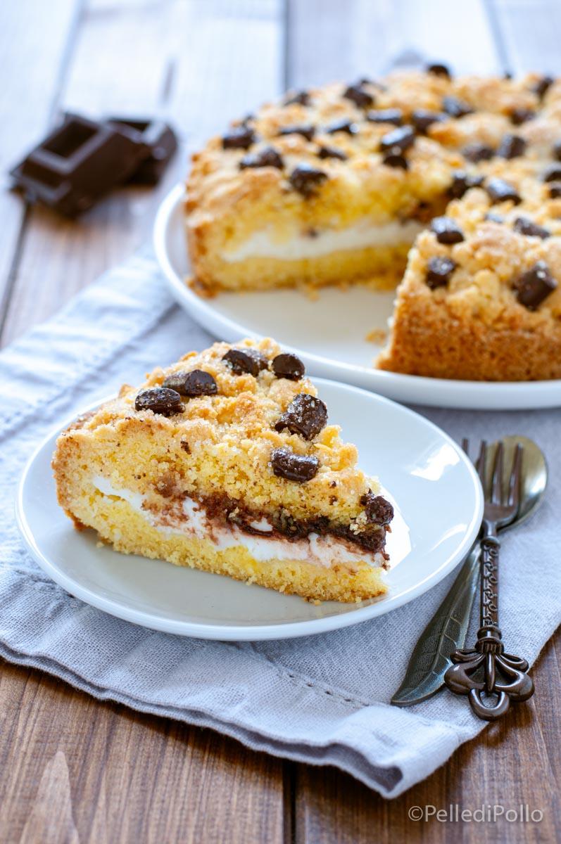 torta sbriciolata con ricotta e cioccolato