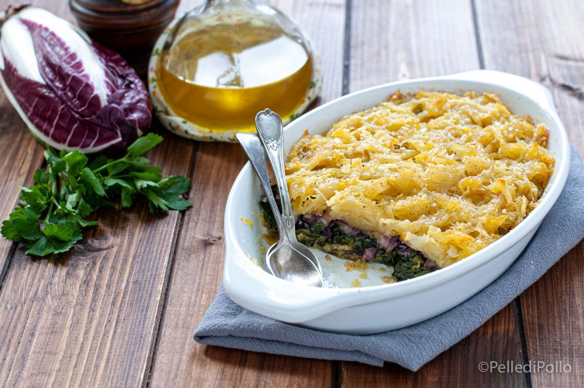 tortino di patate spinaci radicchio