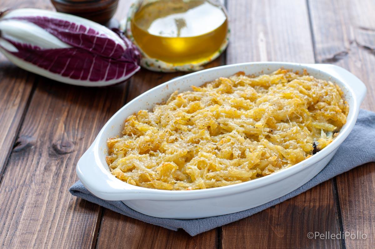 gratin di patate spinaci e radicchio
