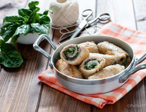 Involtini di lonza con spinaci e pancetta