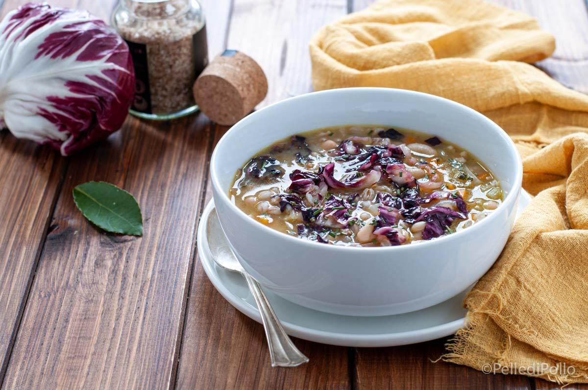 zuppa di farro con radicchio e cannellini