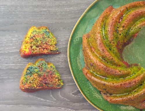 Torta arcobaleno all'arancia con fecola e farina di riso.