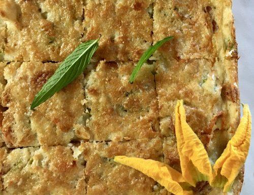 Torta salata di patate, fiori di zucca e menta
