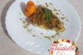 Pesce spada aromatizzato all'arancia, con panatura di pistacchi