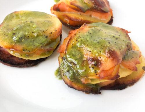 Torrette di patate, salmone e pesto