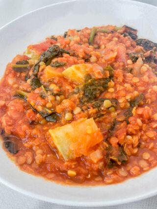 zuppa di cavolo rapa e lenticchie
