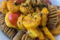 Fusilli con gamberoni allo zafferano e pistacchio