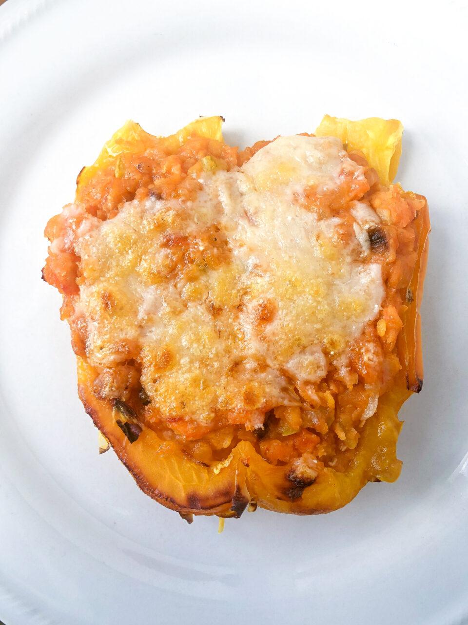 Peperone con ripieno vegetariano di lenticchie