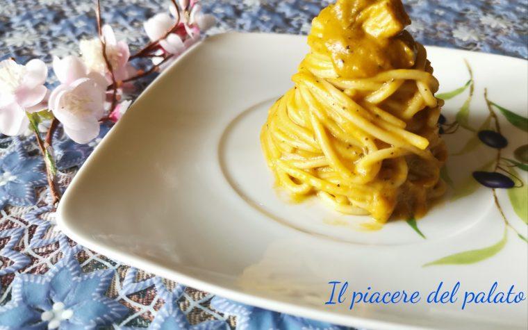Spaghetti con zucca e tofu , ricetta vegetariana