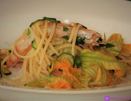 Spaghetti gamberi e zucchine ricetta