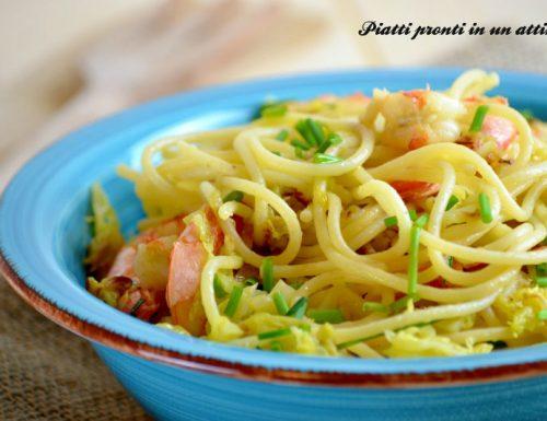 Spaghetti verza e gamberi