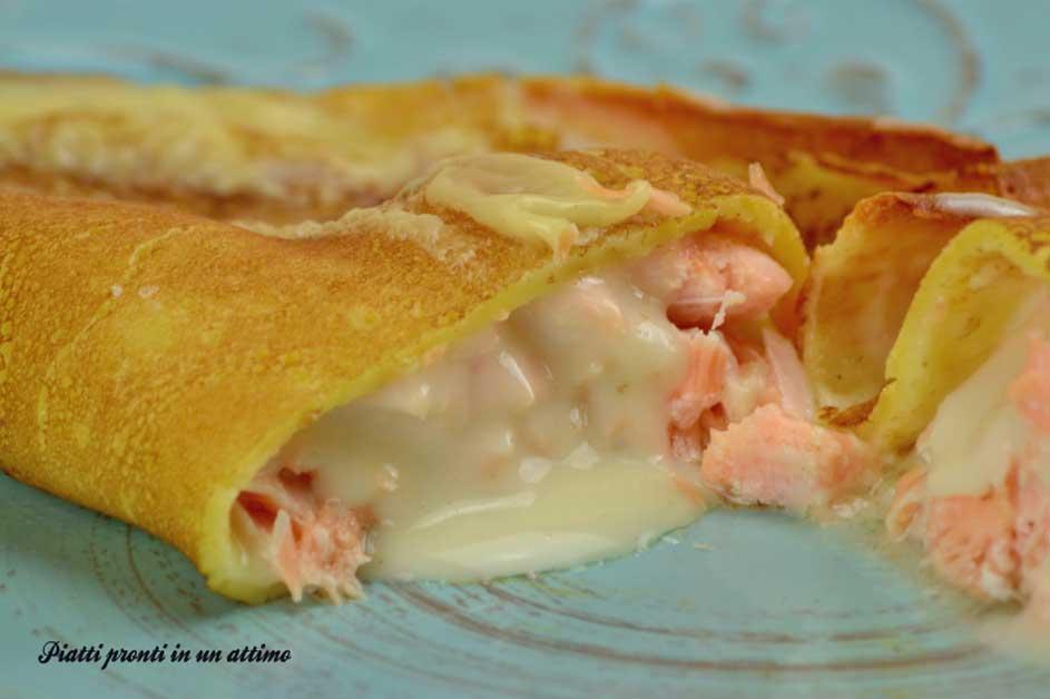Ricetta crepes al salmone e besciamella