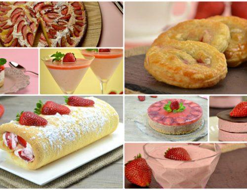 Raccolta di dolci con le fragole