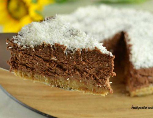 Torta fredda senza cottura al cocco e cioccolato