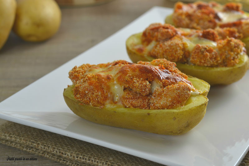 Barchette di patate ripiene di pollo