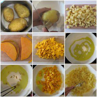 torta salata zucca e patate preparazione