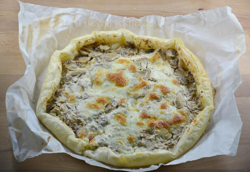 torta salata con philadelphia e funghi