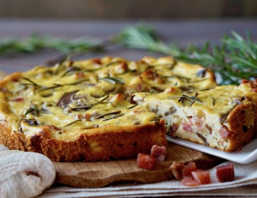 Torta Salata Funghi, Speck e Rosmarino