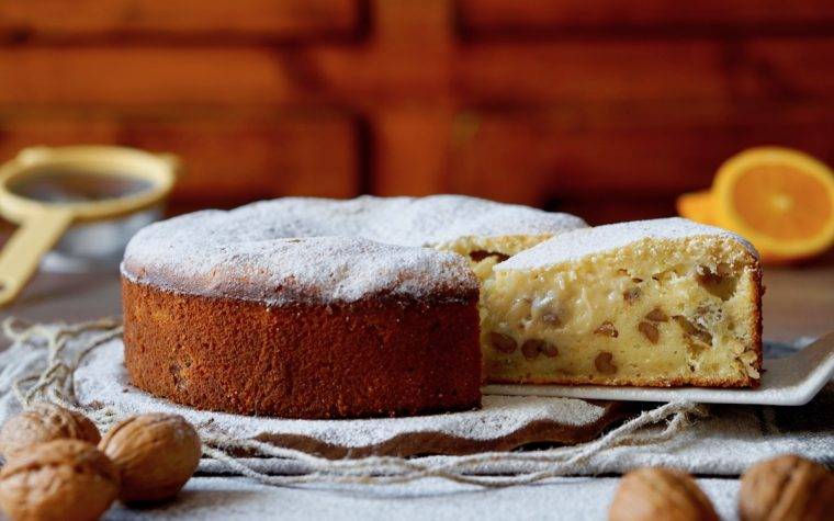 Torta al Cioccolato Bianco, Noci e Arancia