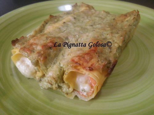 Cannelloni al Salmone, Robiola e Pesto