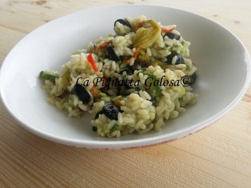Risotto Piccante alle Zucchine, Fiori e Olive Light