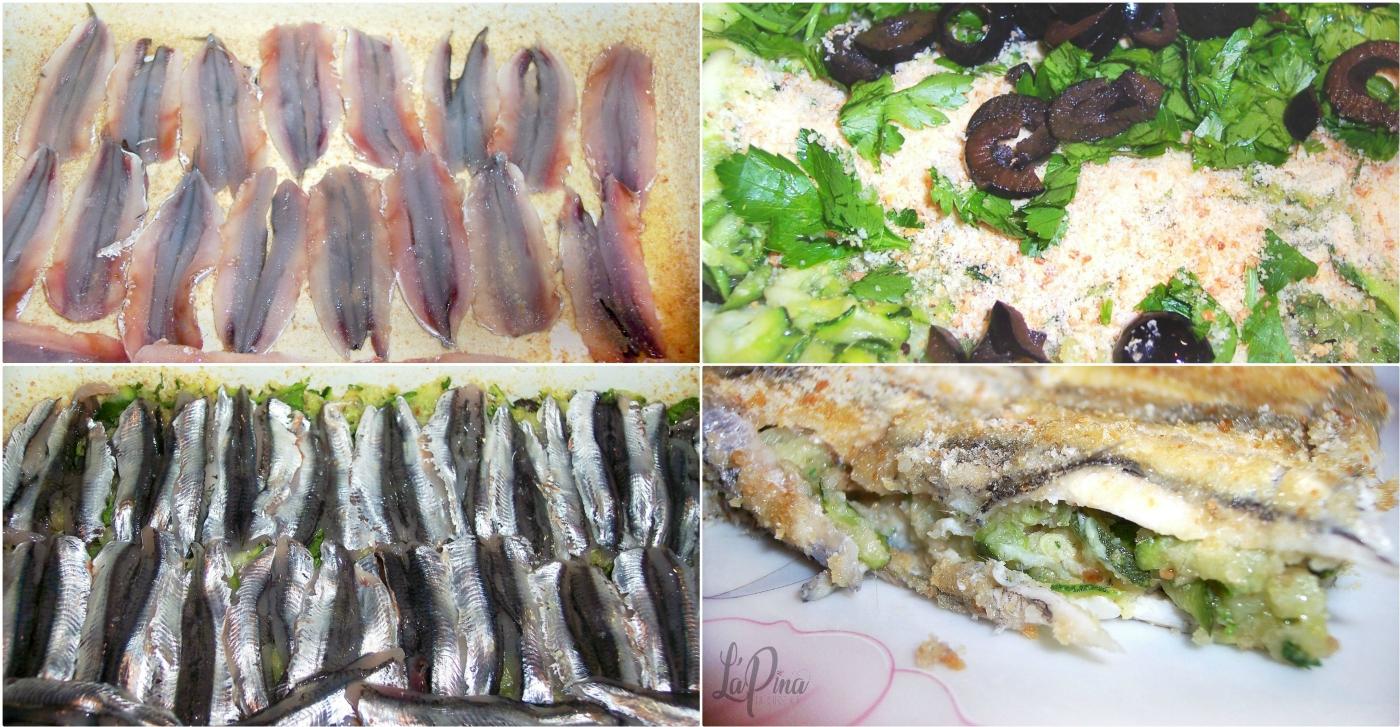 Tortino di alici e zucchine collage