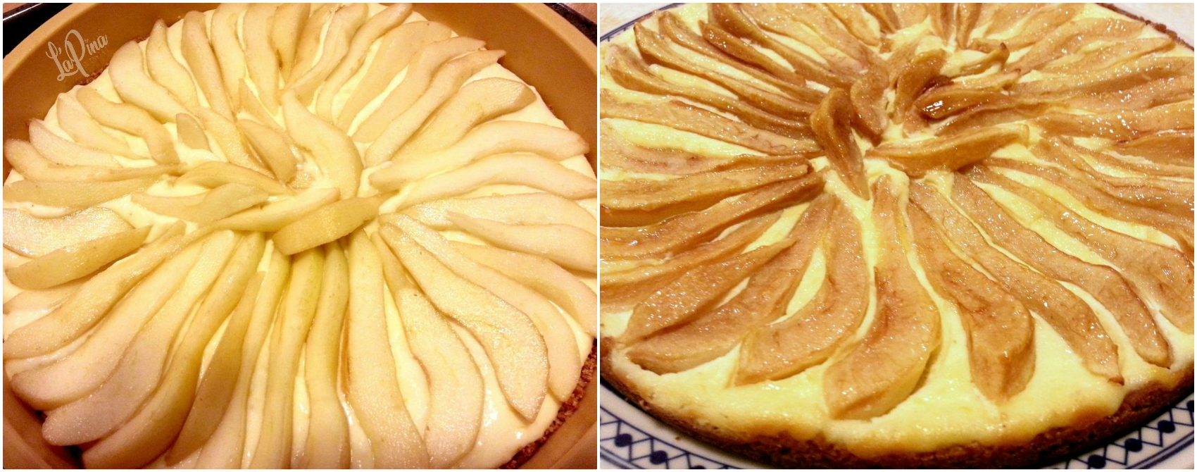 Cheesecake ricotta e pere collage