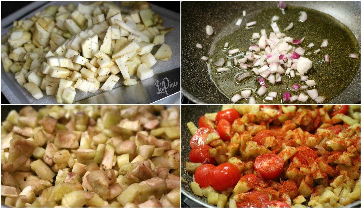 Pasta con melanzane, pomodorini e paprika dolce collage_