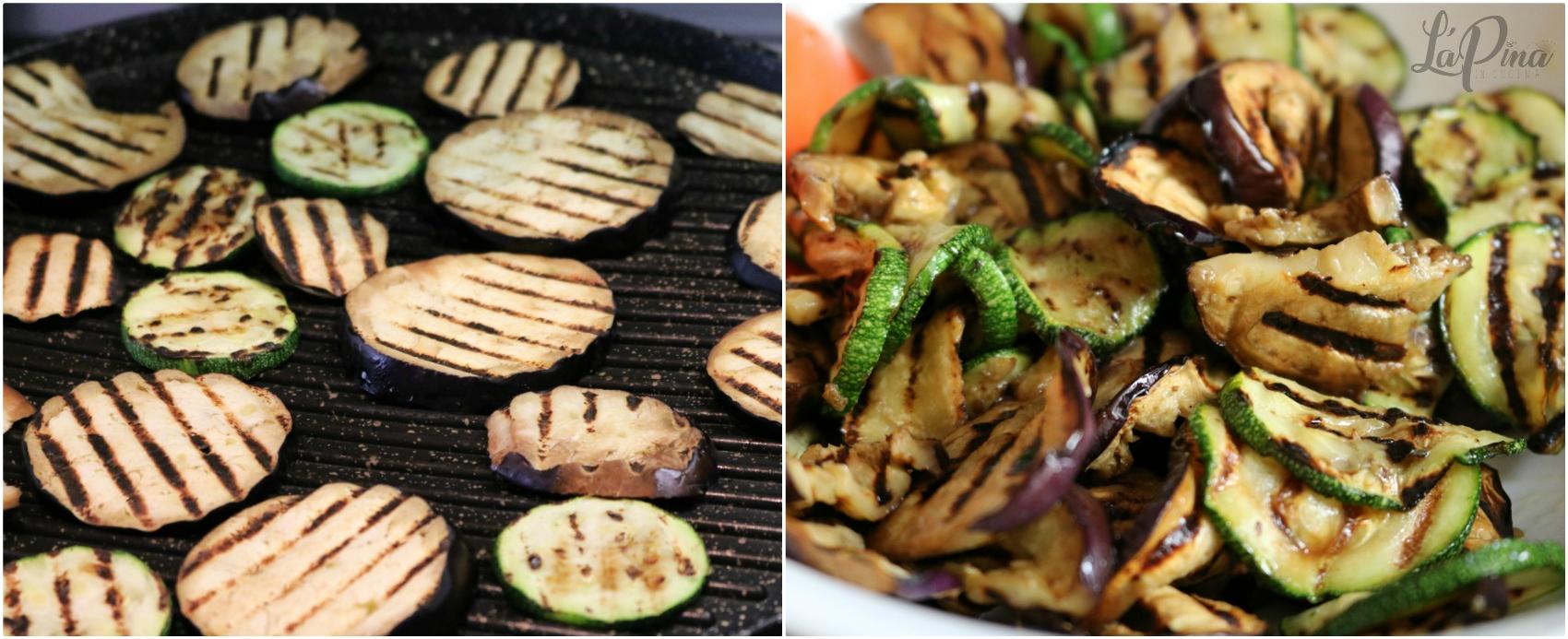 Insalata fredda di orzo con verdure grigliate collage