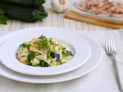 Risotto light gamberetti e zucchine