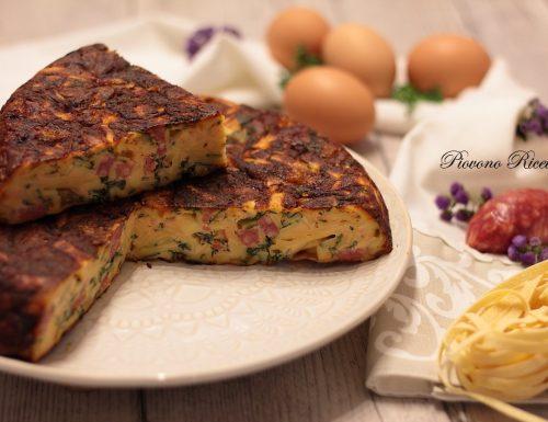 Frittata di tagliatelle con spinaci e fontina