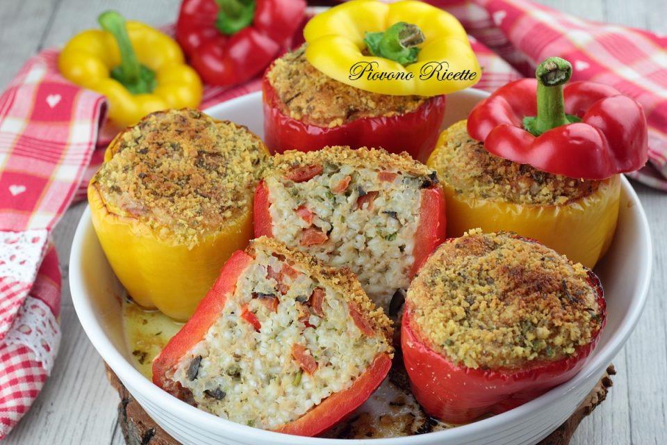 peperoni ripieni di riso, tonno ed olive