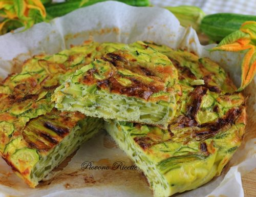 Frittata con zucchine e fiori di zucca