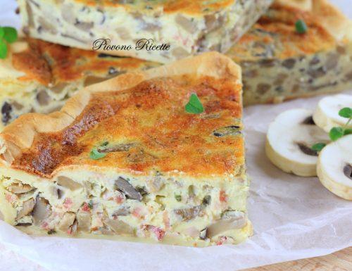 Torta salata con funghi e pancetta