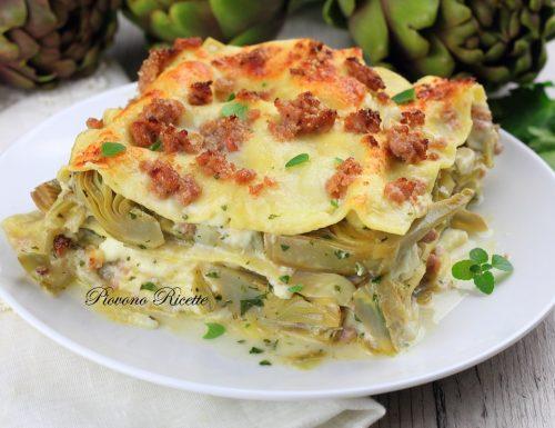 Lasagne con carciofi, salsiccia e stracchino