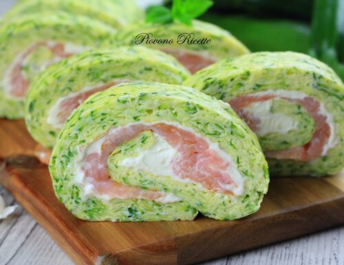 Rotolo di frittata alle zucchine e salmone affumicato