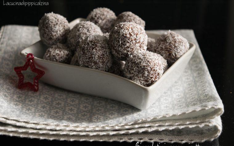 Cioccolatini cacao ricotta e cocco