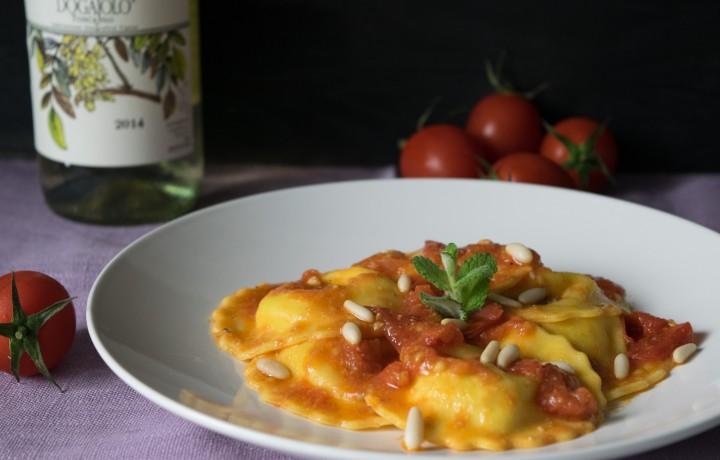 Girasoli gamberi e zucchine con salsa di mare